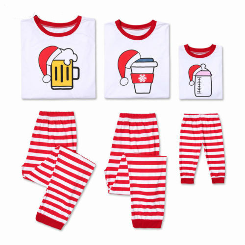 d2bbfb768 Family Christmas Pajamas Set Dad Mom Kids Striped Satan Claus ...