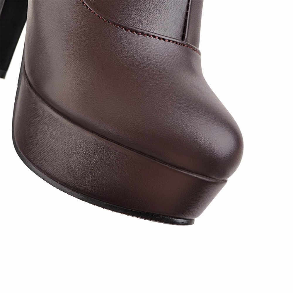 Asumer Thời Trang Mùa Đông Mới Giày Bốt Nữ Đen Trắng Nâu Nữ Giày Nền Tảng Dây Kéo Mũi Tròn Cao Cấp Trên Đầu Gối