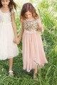 2016 Blush Flor Meninas Vestidos de Lantejoulas de Ouro Feito À Mão Flor Sash Tea Length Tulle Jewel A Linha de Vestido de Dama de Honra Júnior