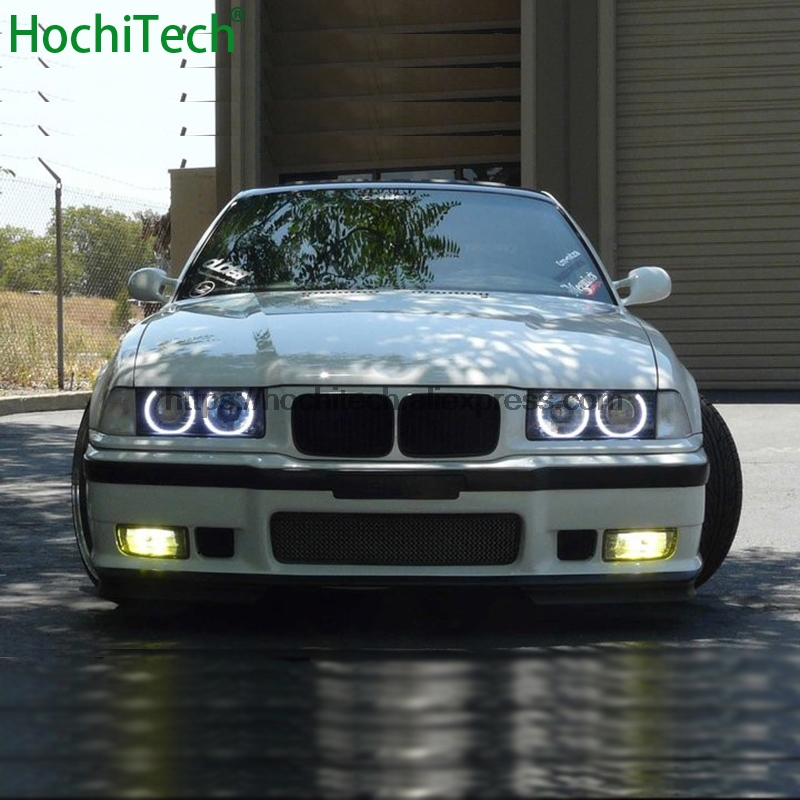HochiTech for BMW 3 Series E36 1990-2000 car styling Ultra Bright White LED COB Angel Eye Halo Light kit Error Free wljh white ice blue canbus error free car interior lighting trunk mirror led light kit for bmw e36 328i 325i 1992 1998 15pcs