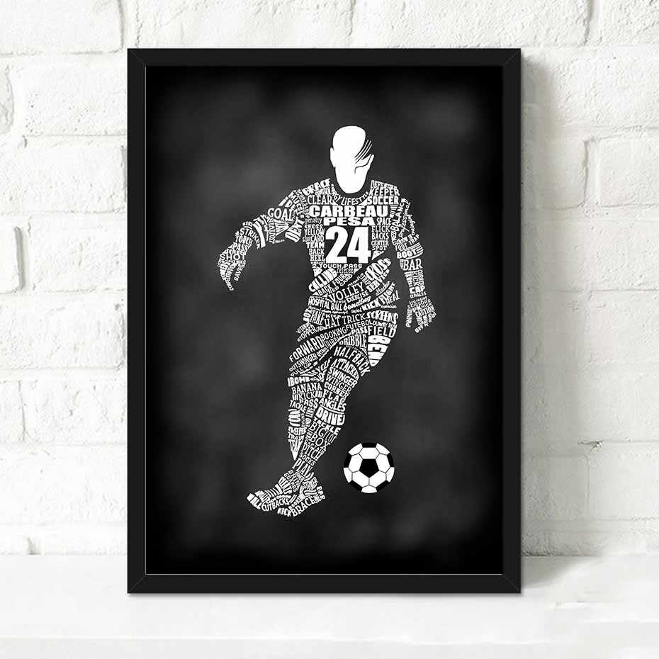 Triptych black and white abstract soccer a4 art print and poster canvas paintings sport man wall