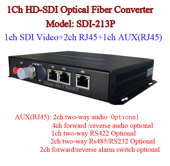 Multifunction 1CH HDSDI Video Optic Transceiver -Audio/Ethernet RJ45/RS485 Data /Alarm Through RJ45 Interface Over Single Fiber