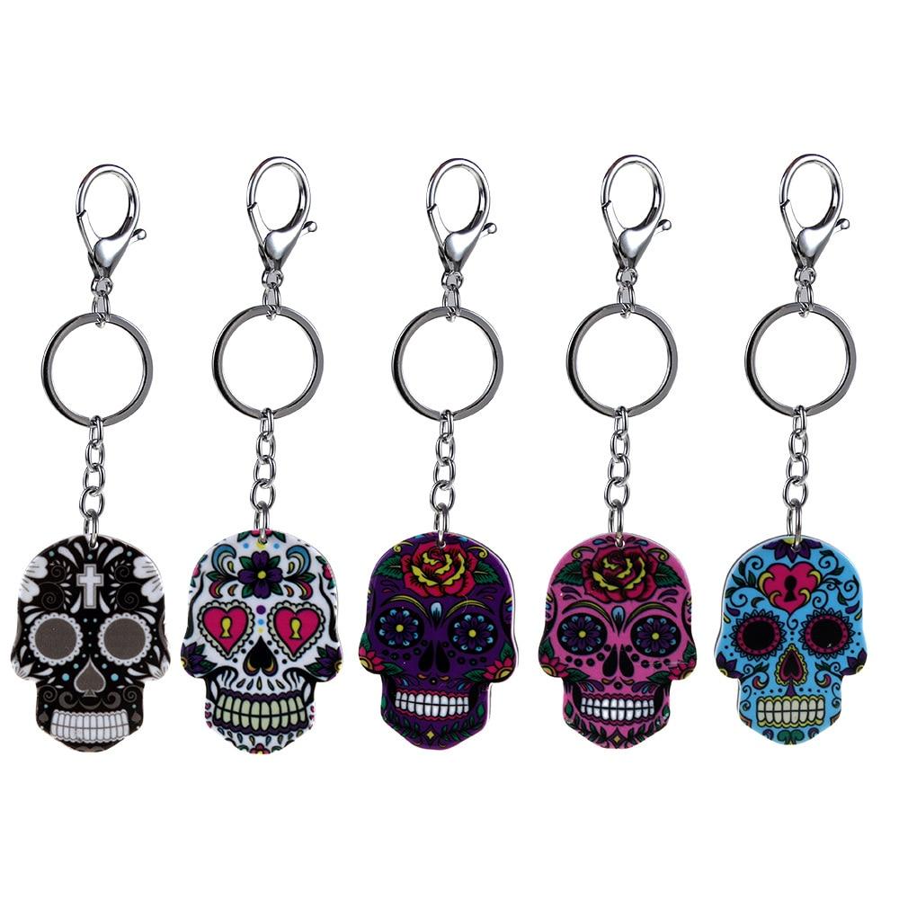 Calavera Sugary-sweet Whimsical Skull Keychain Keyring Celebrate Mexican Day Of The Dead Halloween Acrylic Sugar Skull Key Chain