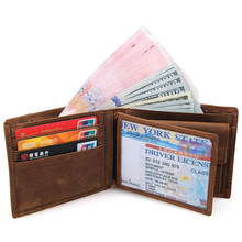 J.M.D  Crazy Horse Leather 100% Genuine Leather Brown Men Wallets Vintage Casual Card Holder Purse For Young 8145R цена