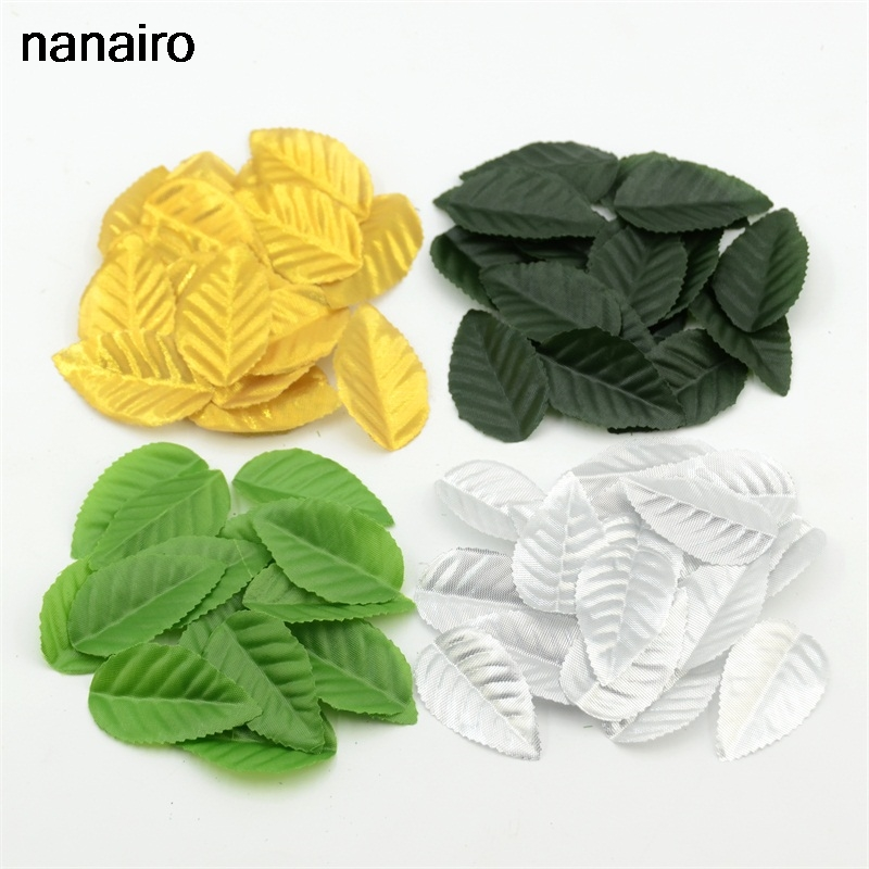 4 Color 200pcs Artificial Silk  Leaves Flower Leaves Nylon Stocking Flower Party Wedding Decoration Scrapbooking Craft Wreath