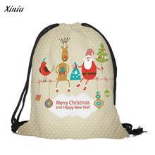 Merry Christmas Candy Bag Printed Gift Bags Drawstring bags Satchel Rucksack Bundle Pocket Drawstring Storage mochila infantil