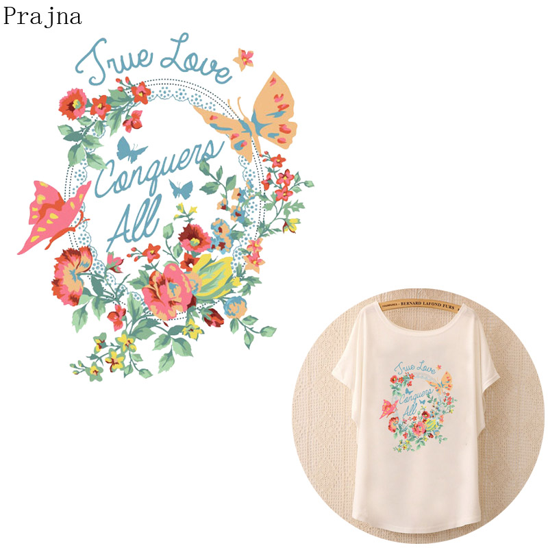 Prajna Flower Patch Heat Transfer Vinyl Iron On Transfer For Clothing T shirt Thermal Stickers Fabric Jeans Patch Applique Badge