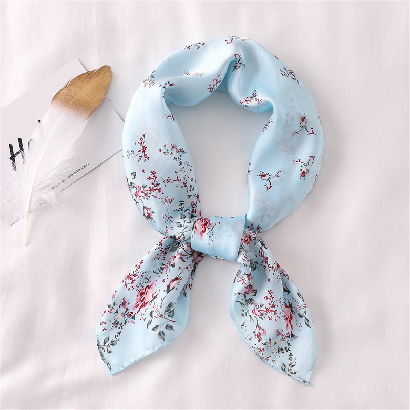 2020 Summer Silk Scarf Square Lady Pashmina Shawls And Wraps Women Scarf Small Size Office Neck Hijab Headband Luxury Brand
