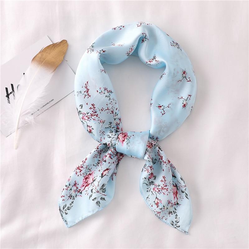 2020 Summer Silk Scarf Square Lady Pashmina Shawls And Wraps Women Scarf Small Size Office Neck Hijab Headband Luxury Brand