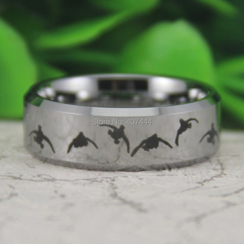 Free Shipping Usa Uk Canada Russia Brazil Hot 8mm Silver Beveld Duck Hunting Design New Men S Fashion Tungsten Carbide Ring In Wedding Bands From
