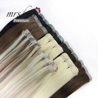 Миссис волос 20 кожи утка волос 50 г ленты в натуральные волосы блондинка невидимый черный настоящие волосы 1 пучок волосы remy коричневый
