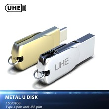 UHE 2-in-1 Type-C USB 2.0 Flash Drive Mini Pen Drive 16GB 32GB Metail Memory Stick Type C 2.0 Pendrive U Disk For Tablet PC