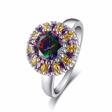 Brand Fashion New Style Women Ring Silver Color Sun Flower Female Ring with 8mm 2ct Rainbow CZ Stone Noble Design Ring Gift