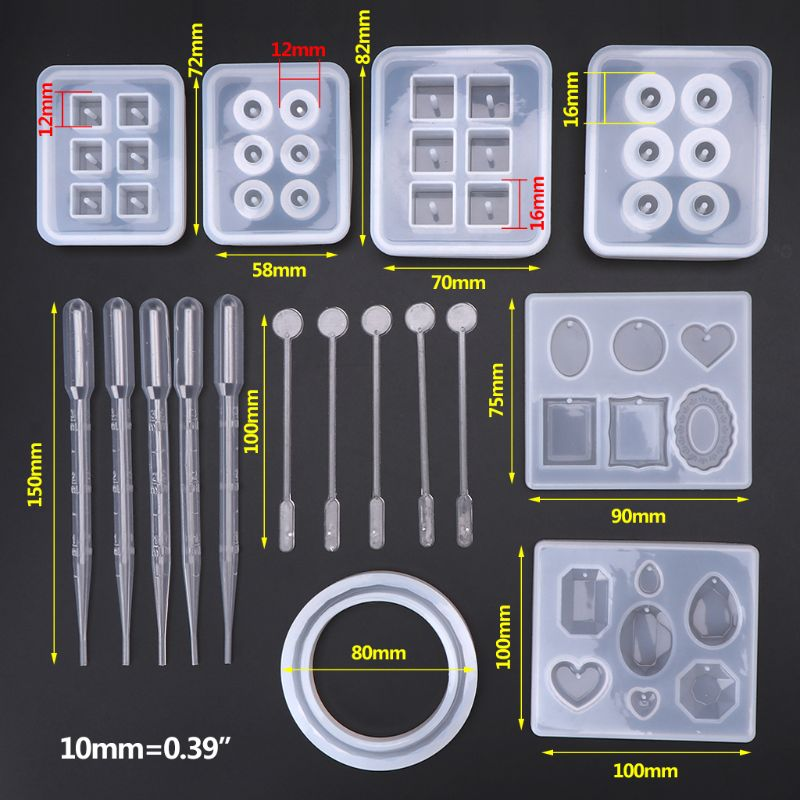 17pcs/set Resin Casting Molds Epoxy Handicraft Kit Silicone Mold Making Jewelry Pendant Mould Craft DIY Set Mixing Spoon