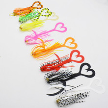 50pcs/lot Assist Hooks with Silicone Rubber Skirt Trailer Replacement Fishing Lure Octopus Jigs