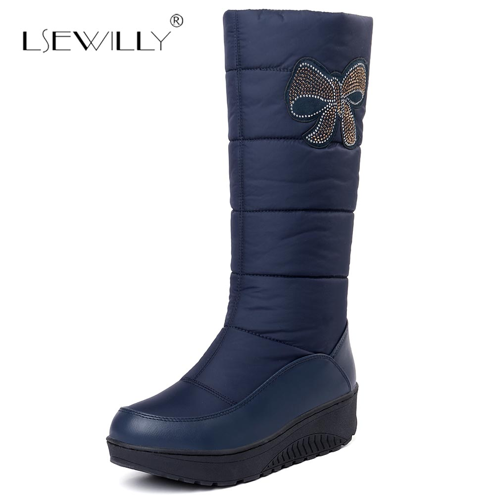 Lsewilly Plus size 35-44 Russia warm plush snow boots platform knee high women boots footwear winter shoes blue black S948