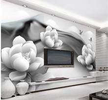 Photo any size modern living room wallpapers black and white flower custom wallpapers for living room(China)