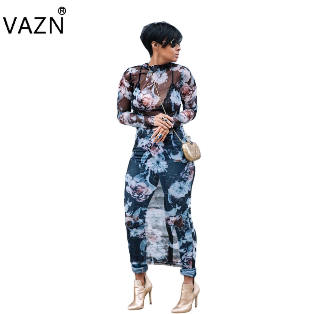VAZN Special Design 2018 Popular Lace Dress Full Sleeve Maxi Print Dresses O-Neck Sexy Long Dress WY6421