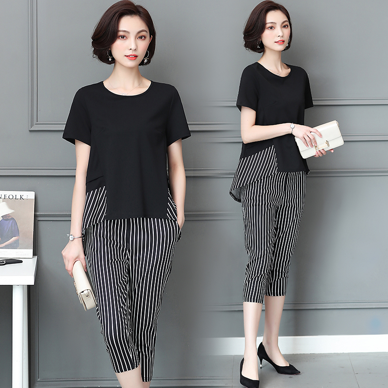 Big yards suit Korean fashion new summer wear women's two-piece clothing set stripe loose blouse top pants outfit size L - 5XL