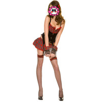 Abbille Quality Erotic Sexy Women Student Uniform Lingerie Red England Style Naughty School Girl Costume Outfit