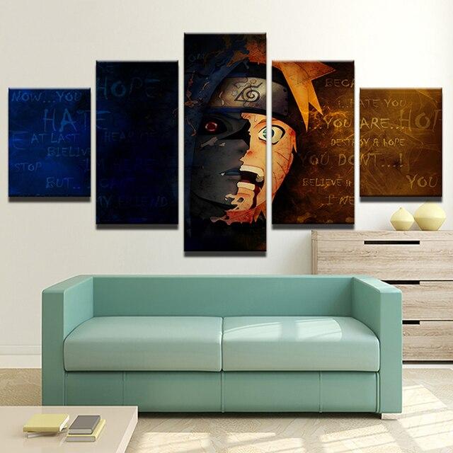 Canvas Schilderij Muur Frame Abstracte Decoratieve Foto 5 Panel ...