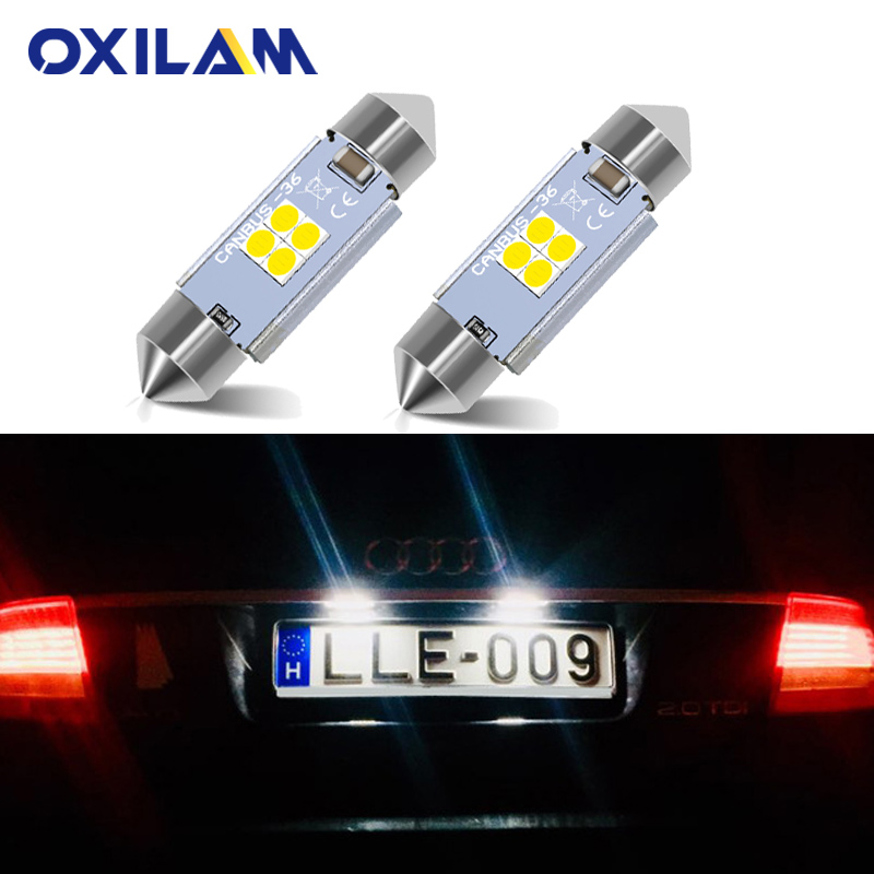 2Pcs Canbus LED Festoon 36mm 6418 C5W Car License Plate Light Bulb for <font><b>Audi</b></font> A3 8P 8L A4 B5 B6 A6 C5 C6 <font><b>A8</b></font> <font><b>D2</b></font> TT Q3 Q5 Q7 S4 S2 image