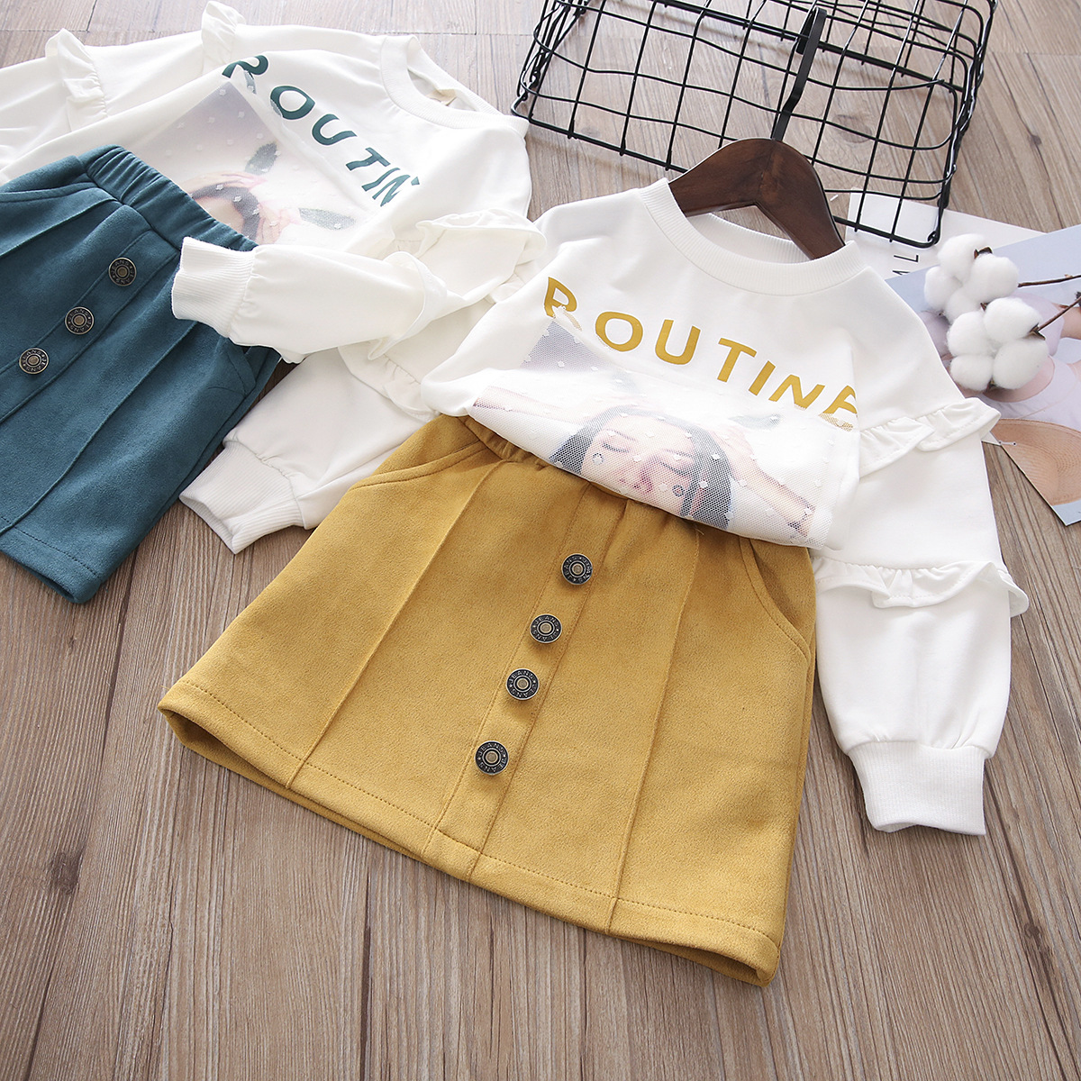 Baby Girl Clothes 2018 New Fashion spring And Autumn Children Pyrographic Korean Girls Sweater Bag Hip Dress Suit Kids Clothes children s garment 2017 autumn parenting dress girl baseball serve motion suit korean leisure time twinset