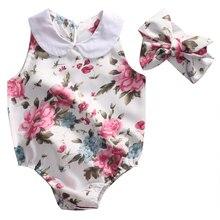 Cute Newborn Baby Girl Romper 2017 Summer Floral Clothes Peter Pan Collar Sleeveless Toddler Kids Sunsuit