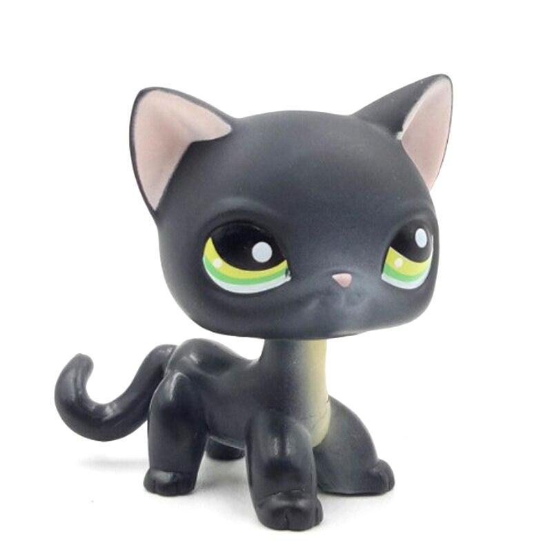 Real Pet Shop Toys Short Hair Cat #336 Black Standing Kitten Green Eyes Child Gift Original Free Shipping