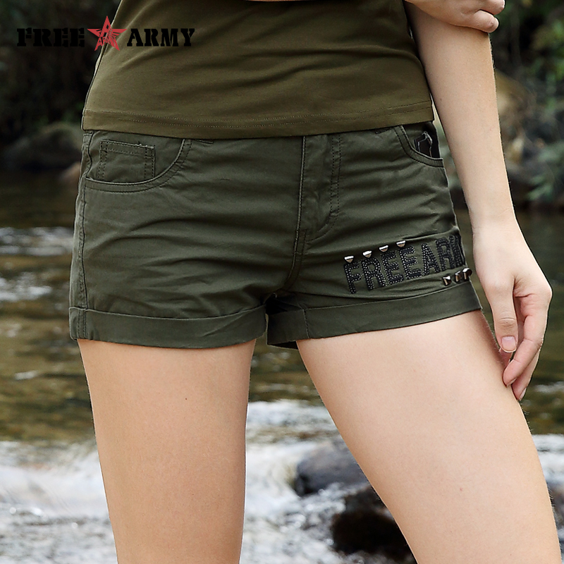 Brand Laides Shorts Women Casual Shorts Loose Pockets Zipper Military Army Green Large Size Summer Ladies Rivet Shorts Outdoors