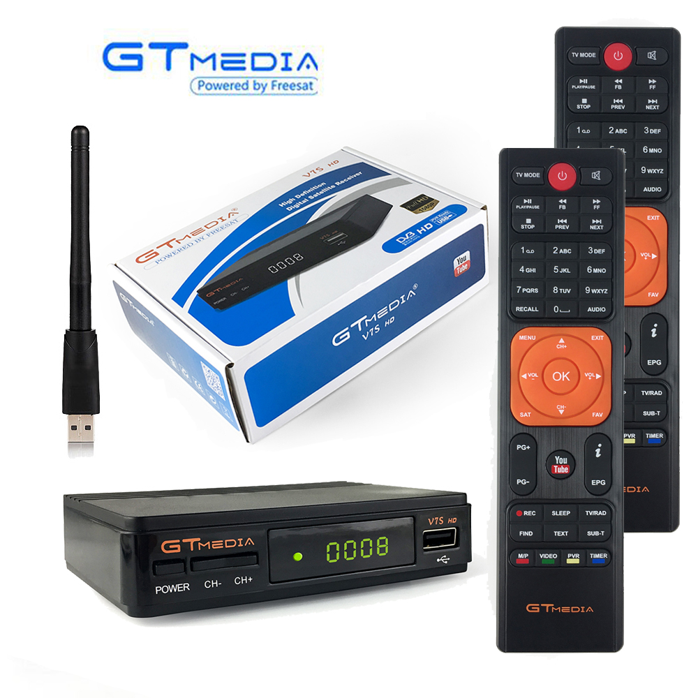 GtMedia V7S Receptor Satellite Receiver HD DVB-S2 Decoder Extra Remote Control USB WiFi Freesat V7 TV Tuner VU Key Cline YoutubeGtMedia V7S Receptor Satellite Receiver HD DVB-S2 Decoder Extra Remote Control USB WiFi Freesat V7 TV Tuner VU Key Cline Youtube