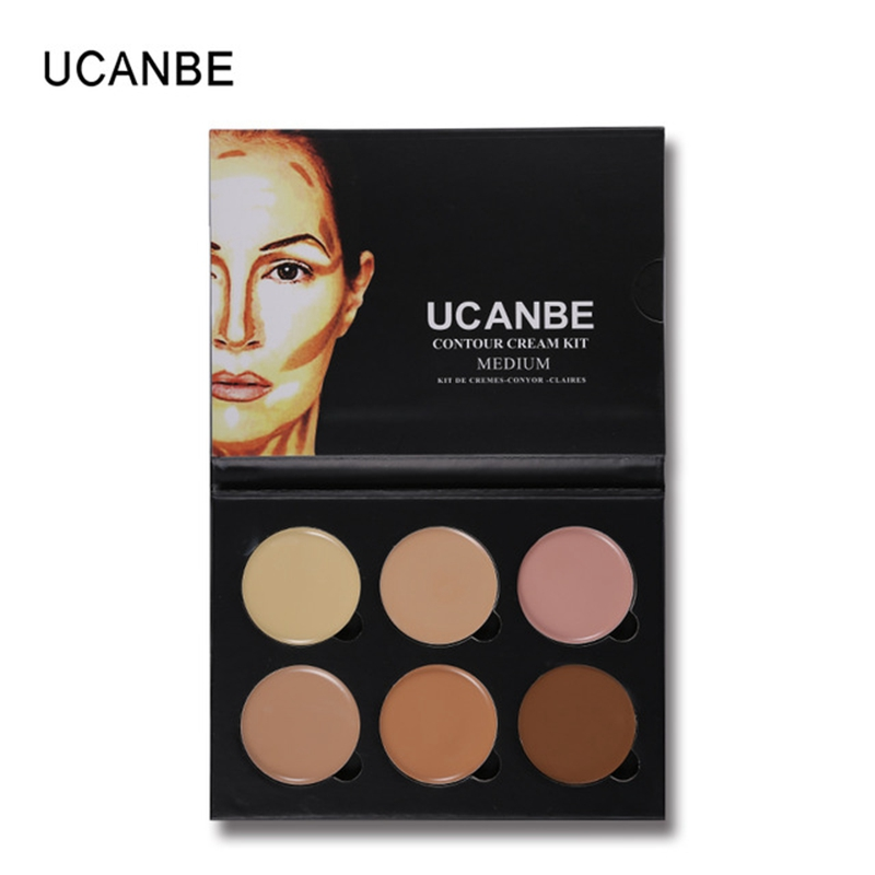 UCANBE Brand 6 Colors 3D Face Concealer Makeup Palette Light Medium Contour Corrector Cream Waterproof Long Lasting Cosmetic Kit image