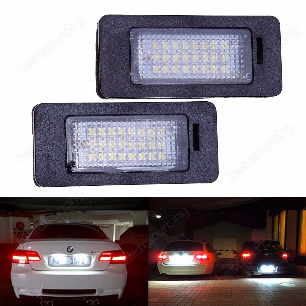 Vehemo 2pcs 24 SMD car led license plate light lamp For BMW E90 E82 E92 E93 M3 E39 E60 E70 X5 E39 E60 E61 M5 E88 atreus car led license plate light for bmw e39 e60 m5 e90 e82 e88 e92 e93 e70 x5 e71 e72 x6 no error white smd lamp bulb kit 12v