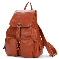 TMBOD New Janpan And Korean Style Fashion Genuine Leather Simple Causal Solid Women Backpack For School
