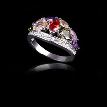 Fashion Colorful Zircon Finger ring for Women Female sliver Classic Wedding Ring Ladies Trendy Girlfriend Gift Jewelry(AKA0020)