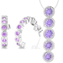 explosion models Wholesale silver plated shiny crystal zircon necklace earrings fashion noble Women classic jewelry set