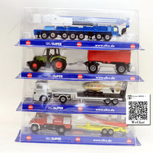 SIKU Truck with Helicopter,Tractor with Trailer,Fire-engine with Speedboat,Crane 16cm Diecast Metal Car Model Toy For Kids