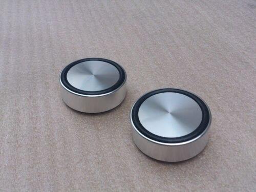 4x (argent) G58 pieds en aluminium pour ampli/haut-parleur (avec anneau en caoutchouc) D: 58mm H: 22mm