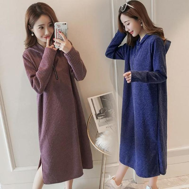 Fashion Hooded Winter Pregnancy Dress Clothes for Pregnant Women Loose Plus Size Maternity Dresses Winter Knitted Nursing Dress autumn winter women knit dress slim package pregnant knitted dresses vestidos fashion maternity dress h281