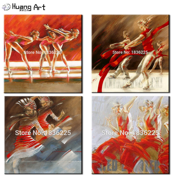 Pure Handpainted Dancers Acrylic Painting on Canvas Impression Dancer Figure Oil Paintings For Living Room Home Decor Wall Art