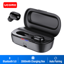UCOMX U6H Pro Bluetooth słuchawki 5.0 prawda bezprzewodowe słuchawki stereo z 2000mAh przypadku ładowania słuchawki dla iPhone Samsuung Xiaomi