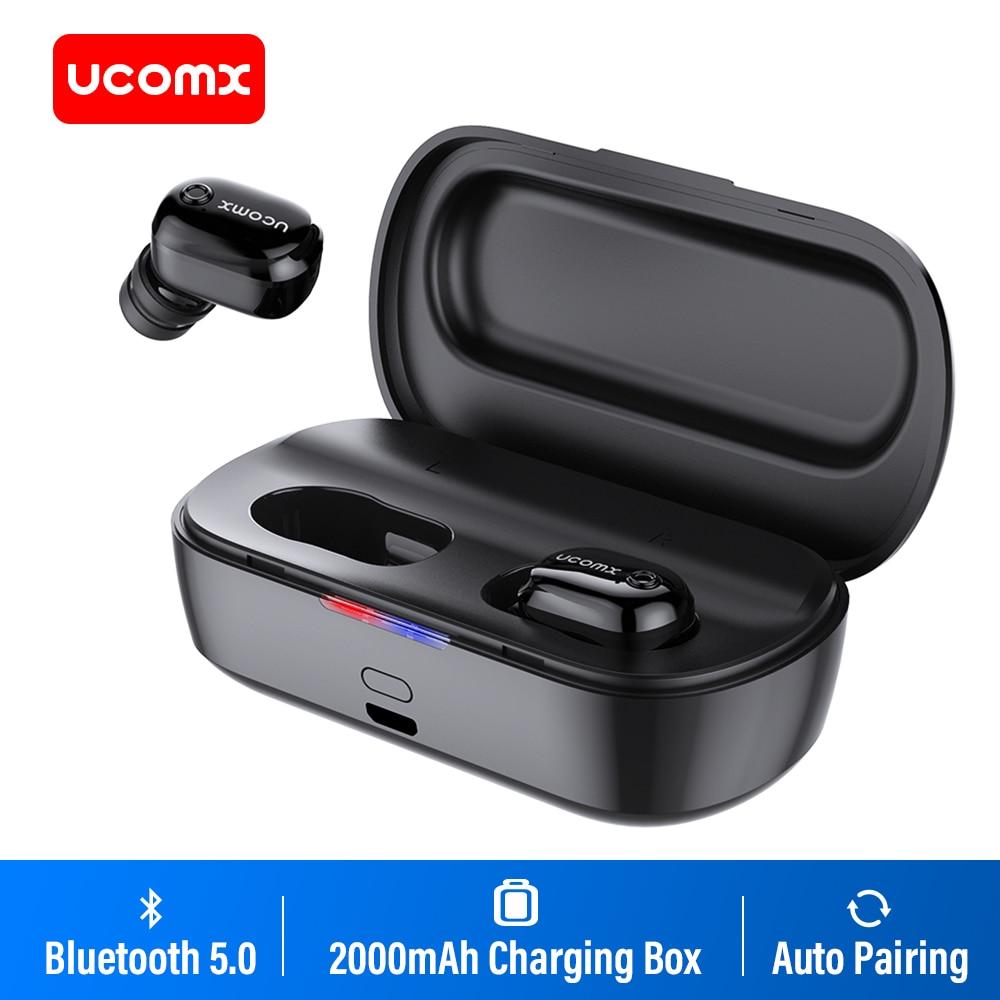 UCOMX U6H Pro Fones de Ouvido Estéreo de Fone de Ouvido Bluetooth 5.0 Sem Fio Verdadeiro com 2000mAh Caso De Carregamento do Fone De Ouvido para iPhone Xiaomi Samsuung