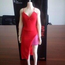 Female Red Dress 1 6 Scale Girl Vest Skirt Clothing Model Toys For 12 Female Action