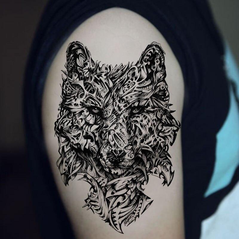 Mechanika Wilk Duże Tymczasowa Naklejka Tatuaż Wodoodporna