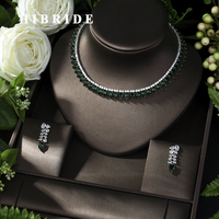 HIBRIDE High Quality Cubic Zirconia Wedding Necklace and Earrings Luxury Crystal Bridal Jewelry Sets for Bridesmaids N 1012