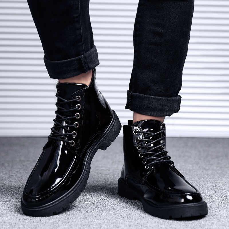 Модные мужские кожаные мотоциклетные ботинки; сезон весна-осень; мужские ботильоны в британском стиле в готическом стиле в стиле панк; Толстая черная обувь
