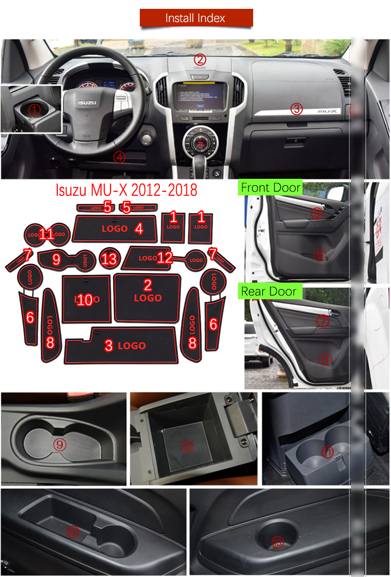 For Isuzu Mux 20122018 Anti Slip Rubber Cup Cushion Door Groove Mat Accessories After Sales Service