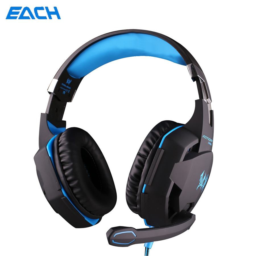 KOTION EACH G2100 Gaming Gamer Headset Headphone Headphones Earphone With Microphone LED Noise Canceling for Computer PC each g8200 gaming headphone 7 1 surround usb vibration game headset headband earphone with mic led light for fone pc gamer ps4