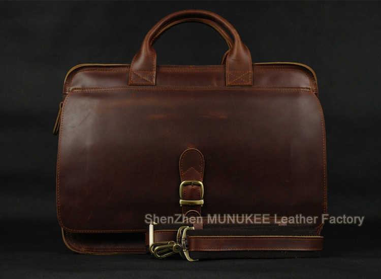 Luxury Italian Genuine Leather Men's Briefcase Business Bag Leather laptop briefcase Men Shoulder Bag Messenger Bag Tote Handbag