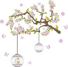 цены на Happy Birds Flower Vinyl Wall Stickers Removable Cartoon Animal Wall Paper for Kids Home decoration Wall decals for Living Room  в интернет-магазинах